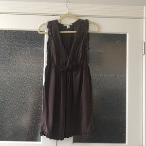 Brown soft semi formal dress with floral appliqué
